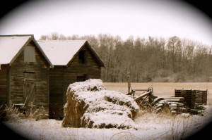 Farm scene with tractor, hay, and sheds