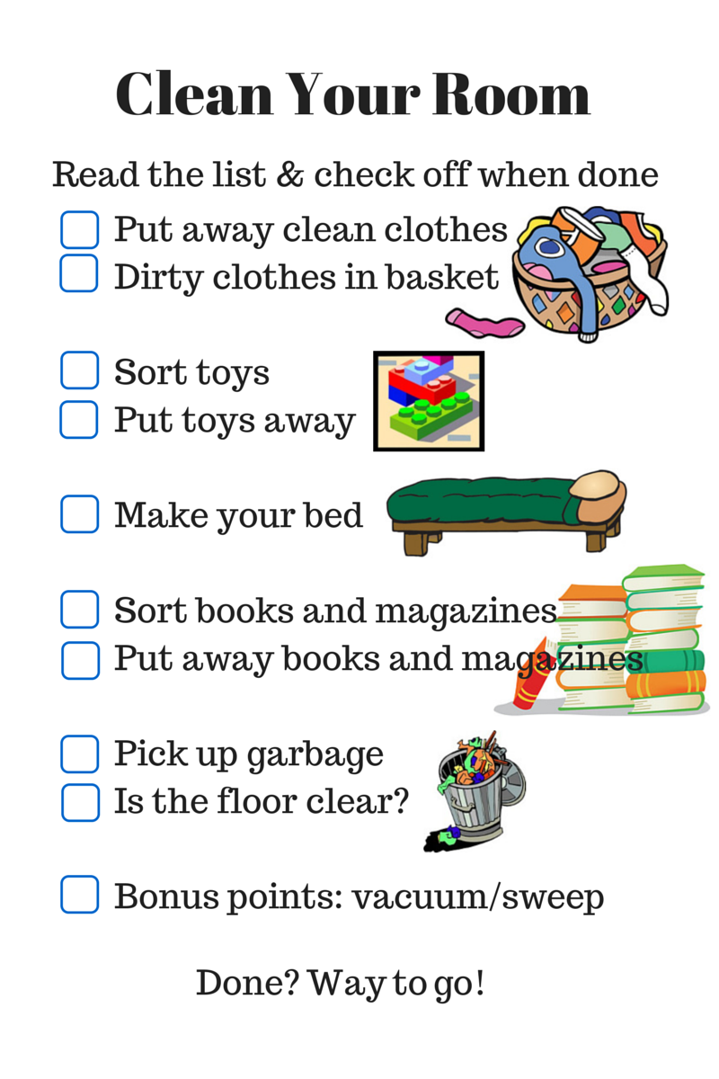 parenting checklist clean your room rls creativity 24308 | clean your room