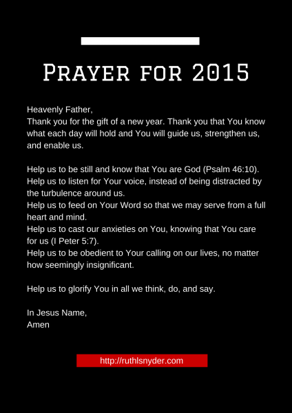 Prayer for 2015