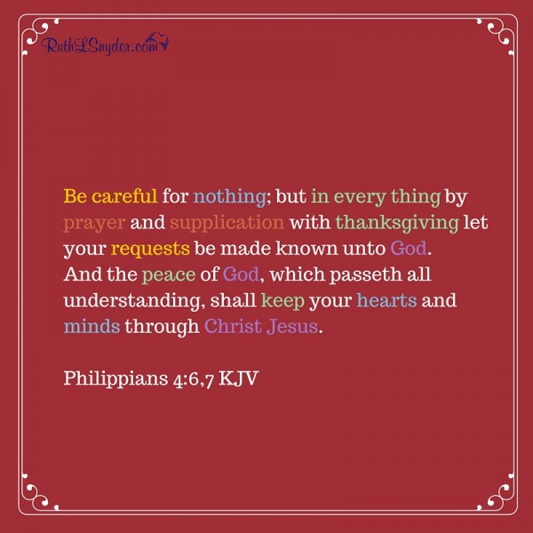 When our schedules are full and we are pushed from one thing to another, we can still choose peace. Philippains 4:6,7 explains how.